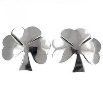 Shamrock Silver Stud Earrings - 21mm