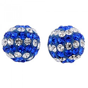 Silver & Crystal Stud Earrings - Blue & Candy Stripes - 7mm