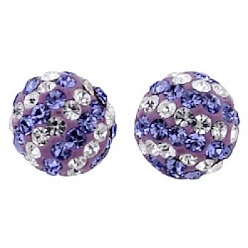 Silver & Crystal Stud Earrings - Purple & Candy Stripes - 7mm