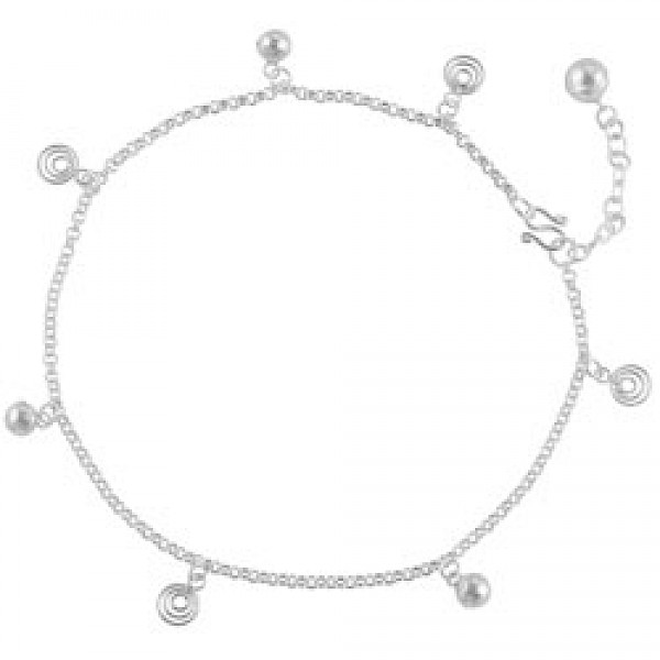 Sterling Silver Bell Spiral Chain Anklet