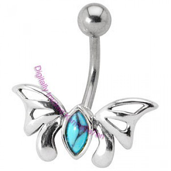 Silver Butterfly Belly Bar - Turquoise