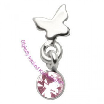 Silver Butterfly Dangling Tragus Stud - Pink