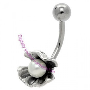Silver Clam Belly Bar - Pearl