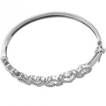 Silver Cubic Zirconia Heart Bangle