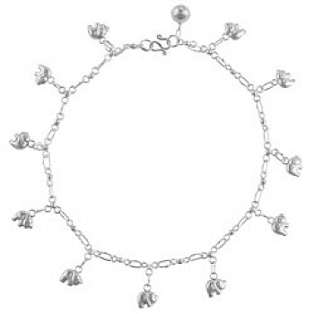 Sterling Silver Elephant Chain Anklet