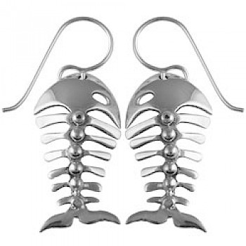 Silver Fish Bones Drop Earrings - 35mm Long