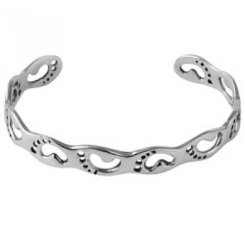 Silver Footprint Bangle - 10mm Wide