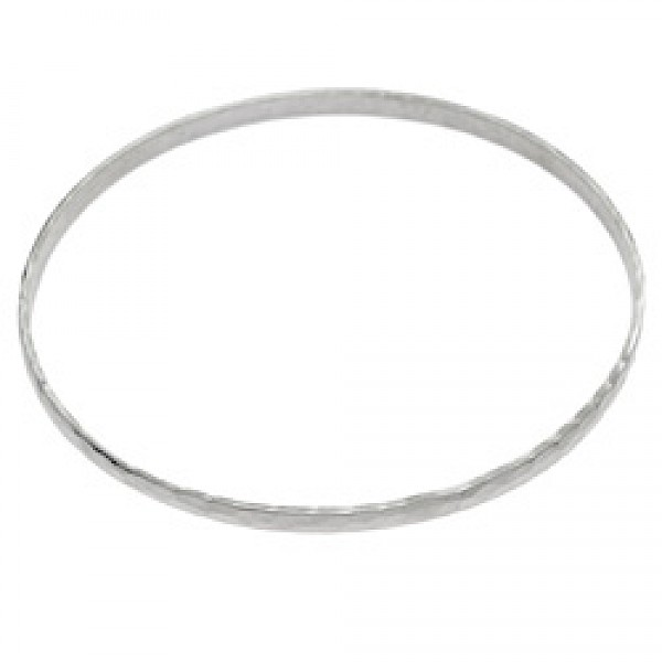 Silver Hammered Bangle - 3mm Wide