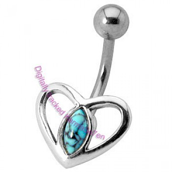Silver Heart Belly Bar - Turquoise