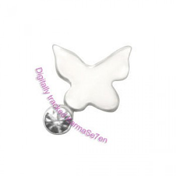 Silver Jewel Butterfly Nose Stud