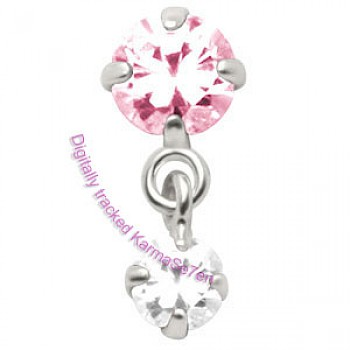 Silver Jewelled Dangling Tragus Stud - Pink & Crystal