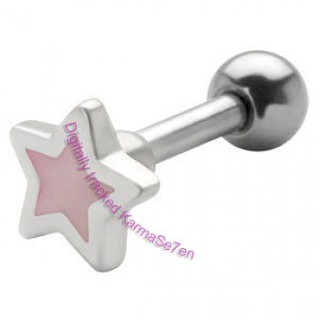 Silver Mother of Pearl Star Upper Ear Stud