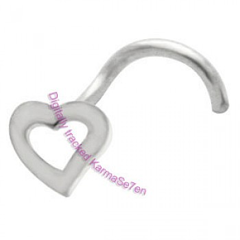 Silver Open Heart Nose Stud