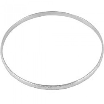 Silver Patterned Bangle - 3.5mm Solid