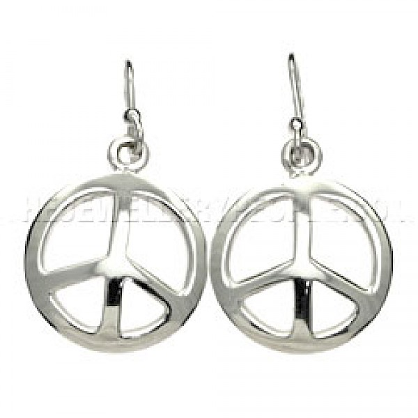 Silver Peace Sign Drop Earrings - 20mm Wide