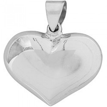 Silver Polished Heart Pendant - 25mm