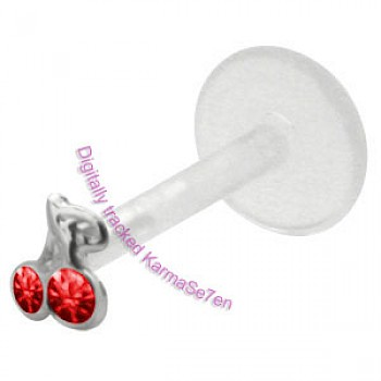 Silver Red Cherries Madonna Stud