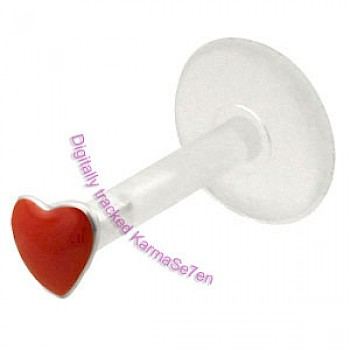 Silver Red Heart Madonna Stud