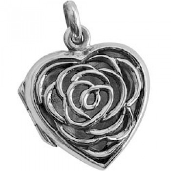 Silver Rose Filagre Heart Locket