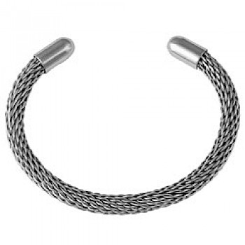 Silver Round Cap Flexible Bangle - 6mm Wide