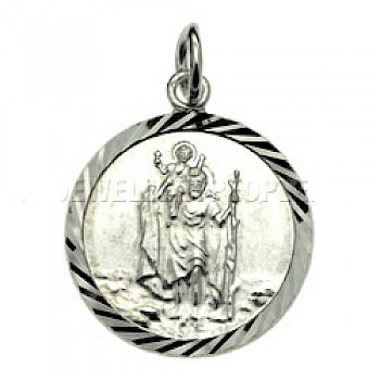 St Christopher Round Silver Pendant - Small