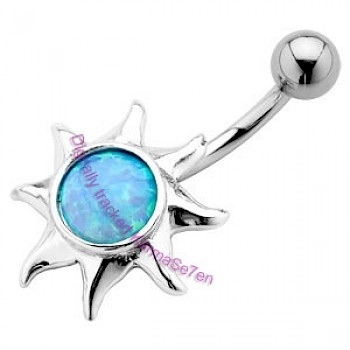 Silver Sun Belly Bar - Opal