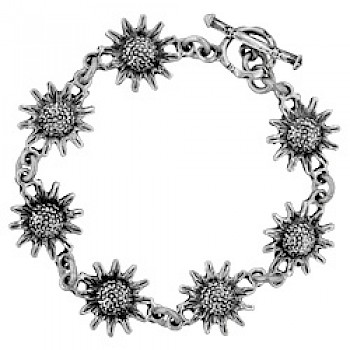 Silver Sunflower Bracelet