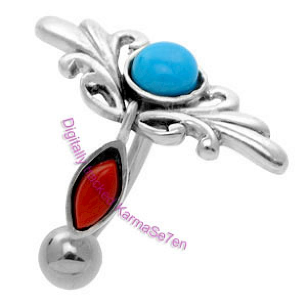 Silver Tribal Belly Bar - Turquoise & Coral