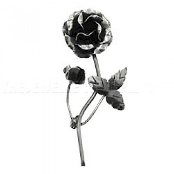 Single Rose Oxidised Silver Brooch - 60mm Long