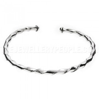 Single Strand Twisted Tube Flexible Silver Bangle - 4mm Wide