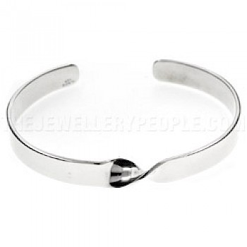 Single Twist Open Silver Bangle - 8mm Wide