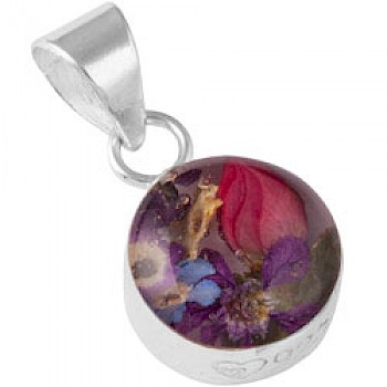 Small Real Flower Round Silver Pendant