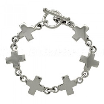 Solid Crosses Silver Bracelet