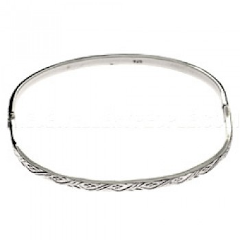 Solid Raised Detail Silver Bangle - 3.5mm Solid