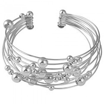 Solid Silver Planets Bangle - 10 Strands
