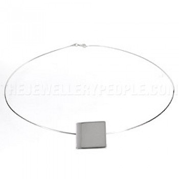 Solid Silver Square Circlet - 17mm Square Pendant