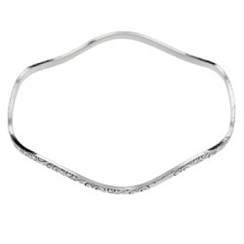 Solid Silver Wavy Swirl Bangle - 2mm Solid