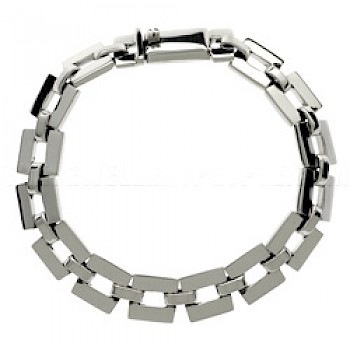 Solid Square Links Silver Chain Bracelet