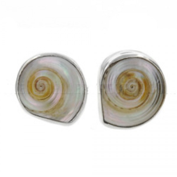 Spiral Pearlised Shell & Silver Stud Earrings