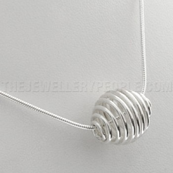Spiral Silver Bead Pendant with Chain