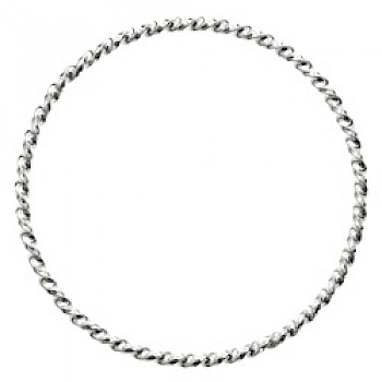 Spiral Twist Silver Bangle - 3mm Solid