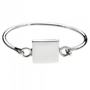 Square Catch Silver Childs' Bangle