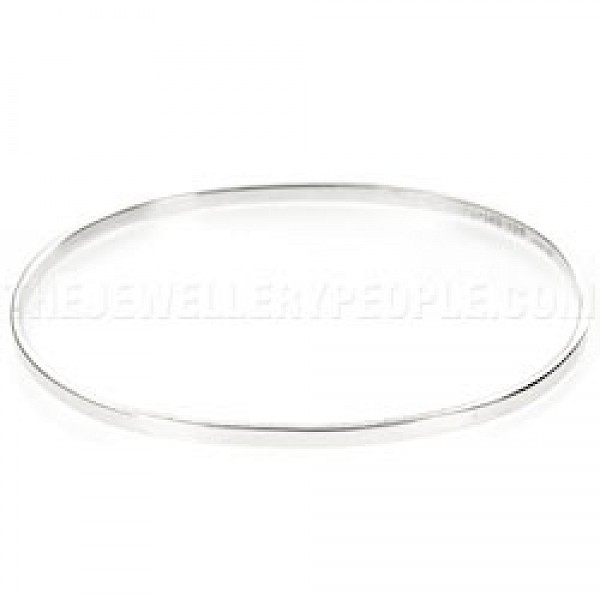 Square Edged Oval Silver Bangle - 2.5mm Solid