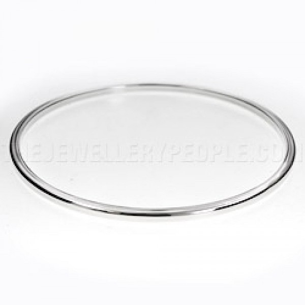 Square Edged Round Silver Bangle - 2mm Solid