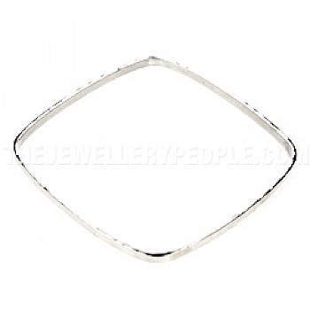 Square Hammered Silver Bangle - 3mm Solid