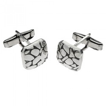 Square Pebbles Silver Cufflinks