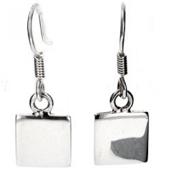 Square Silver Earrings - 11mm Wide