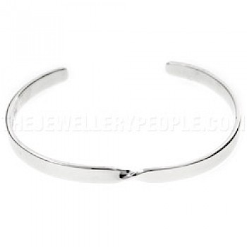 Square Single Twist Open Silver Bangle - 4mm Solid