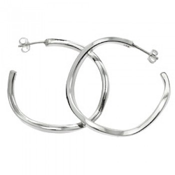 Squared Twisted Silver Hoop Earrings - 40mm Wide