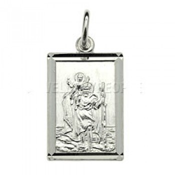 St Christopher Silver Pendant - Rectangle